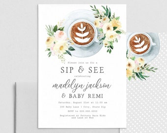 Sip & See Baby Shower Invitation, Coffee Sip and See Shower Invite Template, Hello Baby Shower Instant Download [id:4404588,4404749]
