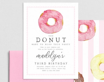 Donut Birthday Party Invitation, Pink Doughnut Birthday Invite Template, Birthday Party Invitation Instant Download [id:4405804,4405897]