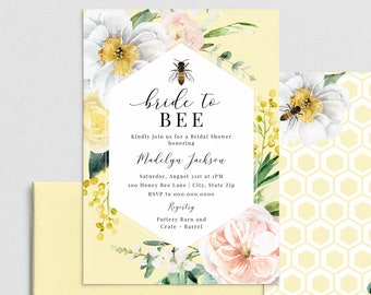 Bee Bridal Shower Invitations, It's Meant to Bee Floral Botanical Bridal Shower Invites, Honey Bee Instant Download [id:4435625,4435820]