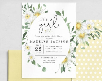 It's A Girl Daisy Baby Shower Invitation Template, Customizable Daisy Baby Girl Shower, Baby Girl Editable Digital Invite [id:7238952]