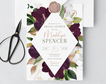 Purple Floral Botanical Bridal Shower Invitation, Watercolor Floral Bridal Shower Invite, Modern Bridal Shower Invite, Envelope Liner