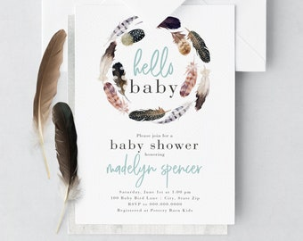 Feather Wreath Baby Shower Invitation, Wild One Baby Shower Invitation, Boho Baby Shower, Envelope Liner
