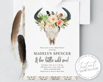 DIY Digital Boho Bull Skull Baby Shower Invitation, Bohemian Baby Shower, Baby Shower Invitation [id:1942281,1942284]