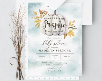 Little Pumpkin Baby Shower Invitation, Fall Baby Shower Invitation, Autumn Baby Shower Digital or Printed