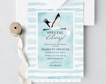 Special Delivery Baby Shower Invitation, Stork Baby Shower, Baby Shower Invite, Baby Boy Shower Invite, Lined Envelopes