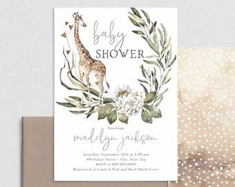 Giraffe Baby Shower Invitation, Safari Adventure Baby Shower Invite Template, Instant Download [id:4399340,4399626]