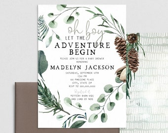 Oh Boy Pinecone Baby Shower Invitation, Pine Tree Let the Adventure Begin Baby Shower Invite Template, Instant Download [id:4398861,4398983]