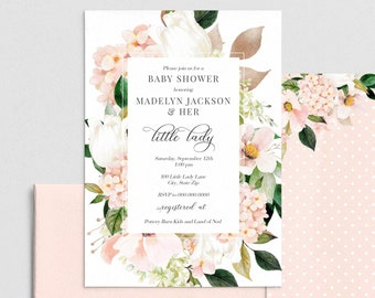 Little Lady Floral Baby Shower Invitation, Pink Flower Baby Shower Invite Template, Instant Download [id:4311047,4311255]