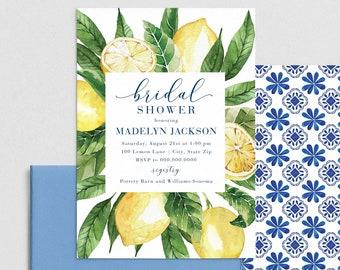 Lemon Bridal Shower Invitation, Mediterranean Citrus Bridal Shower Digital Invite Template, Instant Download [id:4395488,4393512]