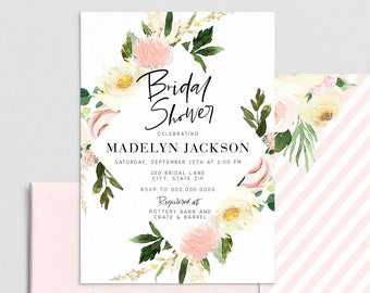 Blush Pink Diamond Floral Bridal Shower Invitation, Floral Bridal Shower Digital Invite Template, Instant Download [id:4392872,4392960]