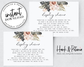 Boho Tropical Bridal Shower Display Shower Insert Cards, Instant Download [id:2045797]