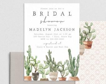 Cactus Bridal Shower Invitation, Desert Bridal Shower Digital Invite Template, Bridal Shower Instant Download [id:4422542,4422600]