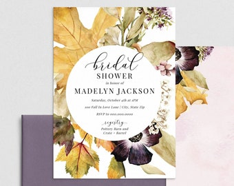 Dusty Purple Fall Bridal Shower Invitation, Fall Floral Bridal Shower Digital Invite Template, Instant Download [id:4389660,4390435]
