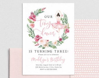 Tiny Dancer Ballerina Birthday Invitation, Dance Birthday Invite Template, Ballet Birthday Invitation Instant Download [id:4396656,4396809]