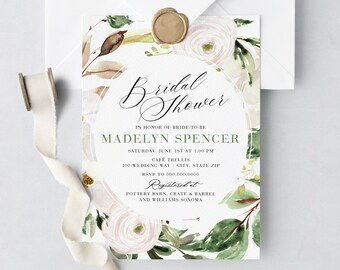 White and Green Floral Bridal Shower Invitation, Watercolor Floral Bridal Shower Invite, Bridal Shower Invite, Envelope Liner