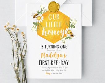 Bee Birthday Party Invitation, Bee-Day Birthday Invitation, Little Honey Birthday Invite, Envelope Liner