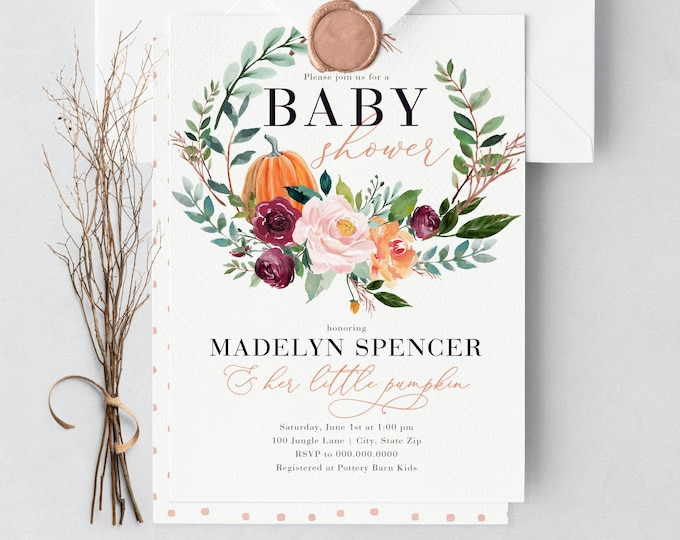 Featured listing image: Little Pumpkin Baby Shower Invitation, Fall Baby Shower Invitation, Autumn Baby Shower, Lined Envelopes