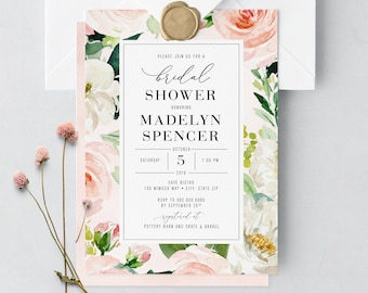 Boho Blush Pink and White Floral Bridal Shower Invitation, Flower Bridal Shower Invite, Boho Bridal Shower Invite, Envelope Liner
