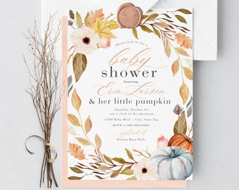 Little Pumpkin Baby Shower Invitation, Fall Baby Shower Invitation, Autumn Baby Shower, Lined Envelopes