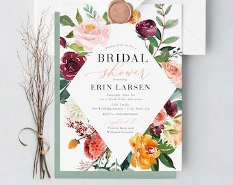 Boho Fall Bridal Shower Invitation, Autumn Floral Bridal Shower Invitation, Boho Chic Bridal Shower Invite, Envelope Liner