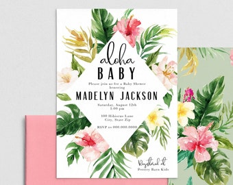 Hawaiian Baby Shower Invitation, Tropical Baby Shower Invite Template, Island Baby Shower Invitations Instant Download [id:4418771,4418967]