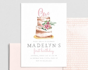 Birthday Cake Party Invitation, First Birthday Invite Template, Naked Cake Birthday Party Invitation Instant Download [id:4396983,4397005]