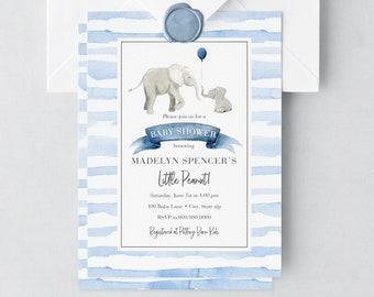 Little Peanut Elephant Baby Shower Invitation, Elephant Baby Shower, Baby Shower Invite, Baby Boy Shower Invite, Lined Envelopes