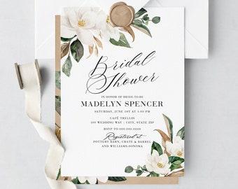 Magnolia Bridal Shower Invitation, Floral Bridal Shower Invite, Bridal Shower Invite, Envelope Liner