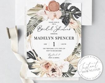 DIY Boho Tropical Bridal Shower Invitation, Watercolor Floral Bridal Shower Invite, Envelope Liner [id:1941063,1941135]