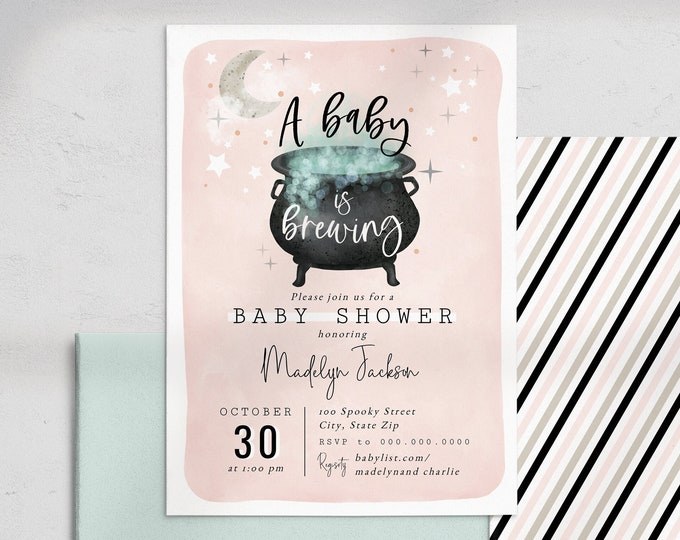 Featured listing image: Customizable A Baby is Brewing Halloween Baby Shower Invitation, Witch Baby Shower Invite Template, Instant Download [id:8976705]