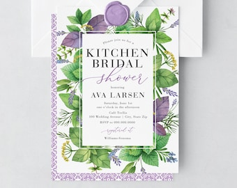 Watercolor Herbs Kitchen Bridal Shower Invitation, Herb Garden Bridal Shower Invite, Bridal Shower Invite, Recipe Shower, Envelope Liner