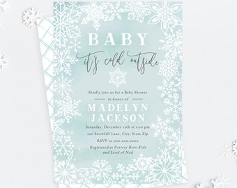 Baby It's Cold Outside Snowflake Baby Shower Invitation, Winter Baby Shower Digital Invite Template, Instant Download [id:5185653]