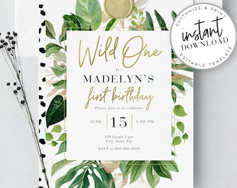 Wild One Jungle Birthday Party Invites, Jungle Safari Birthday Invitations, Envelope Liner, Instant Download [id:2062227,2062253]