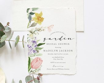 Spring Tulip and Daffodil Garden Bridal Shower Invitations, Floral Bee and Butterfly Bridal Shower Invites, Instant Download [id:5978803]