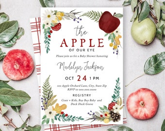 Apple of Our Eye Baby Shower Invitation, Apple Baby Shower Digital Invite Template, Fall Baby Shower Party Instant Download [id:5148856]