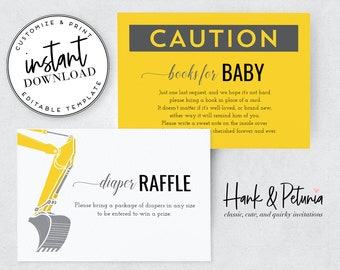 Under Construction Baby Shower Book Request and Diaper Raffle Insert Cards, Instant Download [id:2040841]