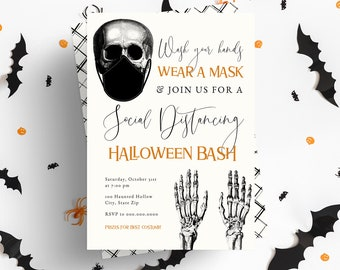 Spooky Social Distancing Halloween Party Invitation, Covid Halloween Party Digital Invite Template, Instant Download [id:5156901]