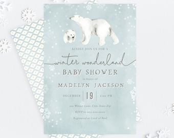 Polar Bear Winter Woodland Baby Shower Invitation, Baby It's Cold Outside Digital Invite Template, Baby Shower Instant Download [id:5274578]