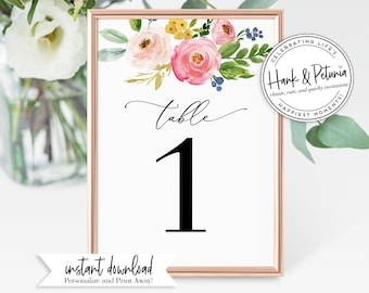 Watercolor Floral Couples Shower Table Numbers, Wedding Shower Table Numbers, Instant Download [id:2027859]