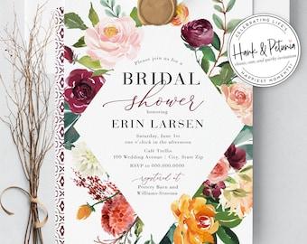 Boho Fall Bridal Shower Invitation, Autumn Floral Bridal Shower Invitation, Burgundy Bridal Shower Invite, Envelope Liner