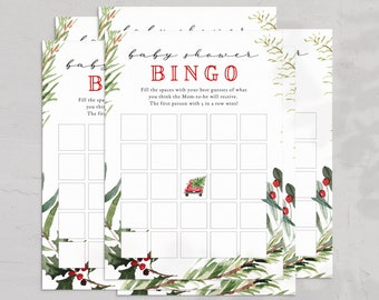 Christmas Tree Truck Back Baby Shower BINGO Card, December Baby Shower BINGO Card, Winter Baby Shower BINGO Instant Download [id:5318471]
