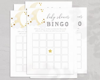 Love You to the Moon and Back Baby Shower BINGO Card, Over the Moon BINGO Game, Twinkle Twinkle Instant Download [id:5381035]