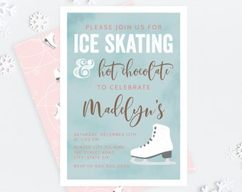 Ice Skating Birthday Invitation, Winter Birthday Party Digital Invite Template, Winter Wonderland Party Instant Download [id:5260199]