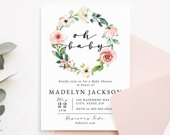 Oh Baby Floral Wreath Shower Invitation Template, Customizable Pink Rose Floral Baby Girl Shower, Editable Digital Invite [id:7204766]