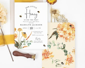 Little Honey Baby Shower Invitation Template, Bee Baby Shower Baby Shower Digital Invite, Sweet as can Bee Instant Download [id:6645171]