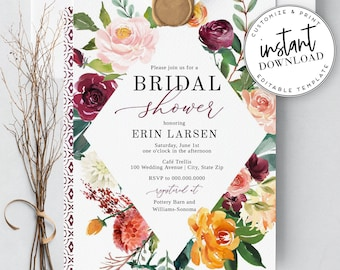 Boho Fall Bridal Shower Invitation, Autumn Floral Bridal Shower Invitation, Instant Download [id:2063549,2063573]