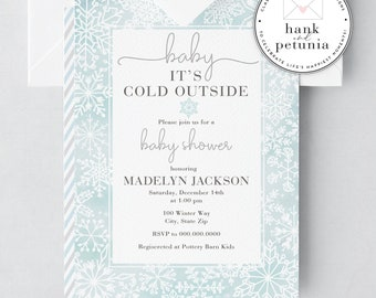 Baby It's Cold Outside Shower Invitation, Gender Neutral Shower Invitation, Winter Wonderland Baby Shower, Snowflake Baby Shower