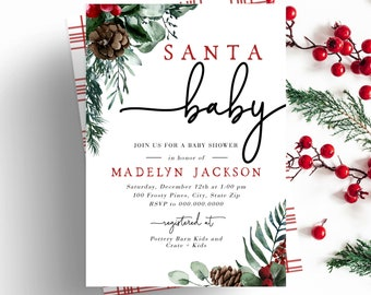 Santa Baby Winter Baby Shower Invitation, December Baby Shower Digital Invite Template, Christmas Greenery Instant Download [id:5179719]