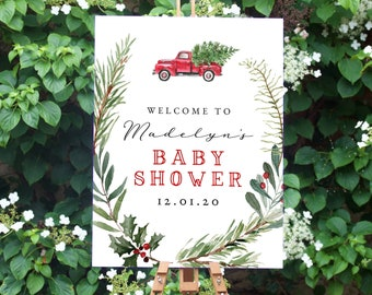 Christmas Tree Truck Baby Shower Welcome Sign, Customizable Christmas Party Welcome Sign, Holiday Welcome Sign Instant Download [id:5312019]