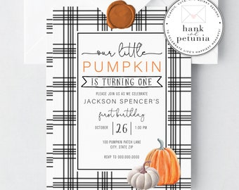 Cute Fall Birthday Invitation, Pumpkin Fall Birthday Invitation, Autumn Birthday Party Invite, Pumpkin Party Invitation, 1st Birthday Party